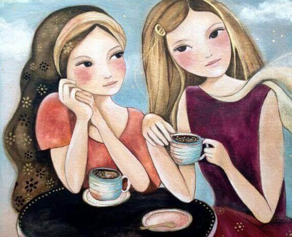 Tytöt kahvilla