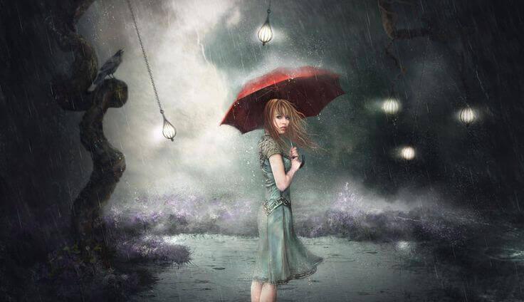 Tyttö vesisateessa, sitkeys