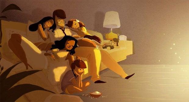 Onnellisuuden opettaminen perhe sohvalla