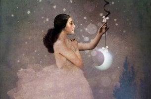 Erityisherkät ihmiset nainen ja kuu