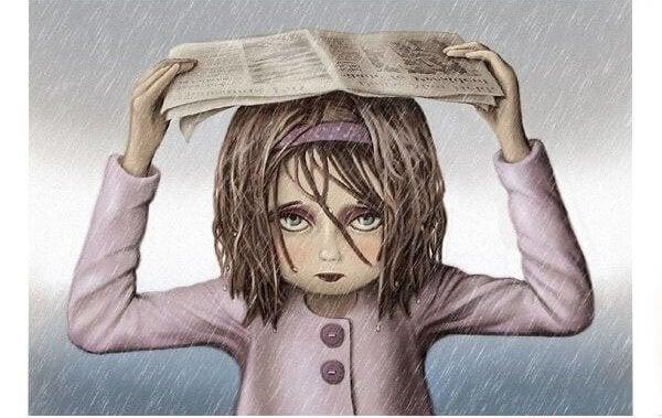 sanomalehti sateenvarjona