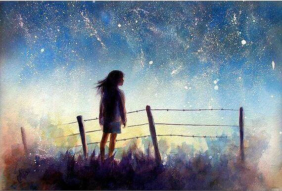 tyttö ja tähtitaivas