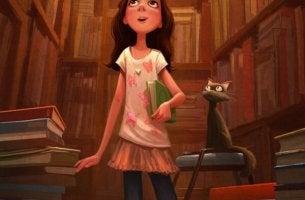Tyttö kirjastossa alkaa lukemaan