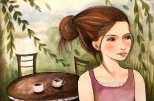 Mielenkiinnon puute tyttö ja kaksi kahvikuppia