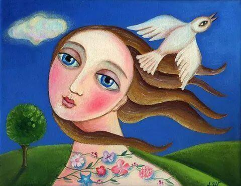 Nainen ja kyyhkynen