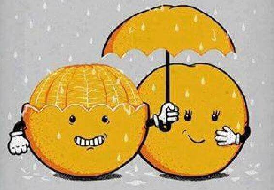 Appelsiini ja sateenvarjo