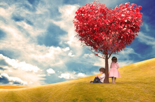 lapset sydanpuun alla