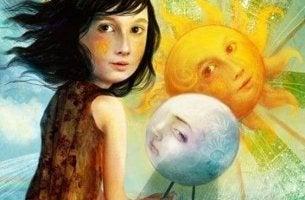 Onnellinen tyttö kuu ja aurinko