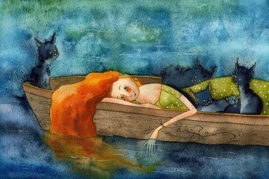 Nainen ja kissat veneessä