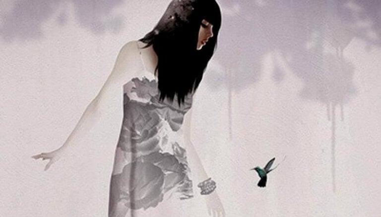 nainen ja kolibri