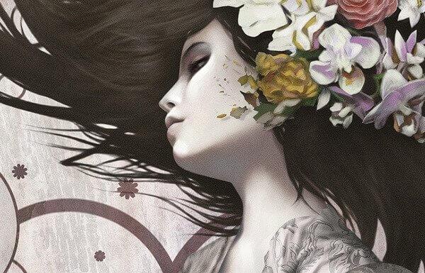 valikoiva abstraktio tyttö kukkia hiuksissaan