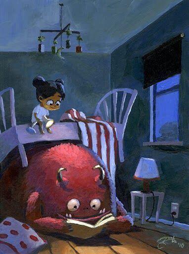 tyttö lukee hirviön kanssa