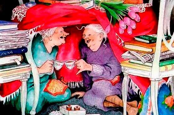 Mummot kahvilla majassa