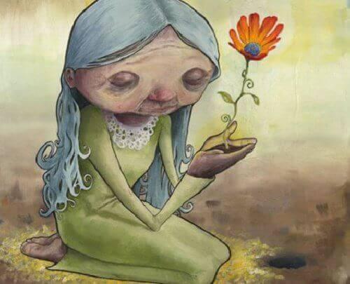 Vanha nainen ja kukka