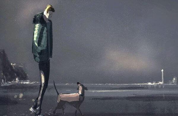 mies ja koira rannalla