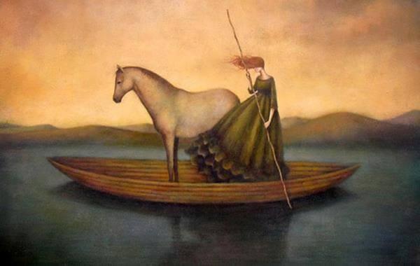 nainen ja hevonen veneessa