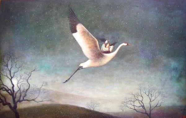 nainen ratsastamassa linnulla