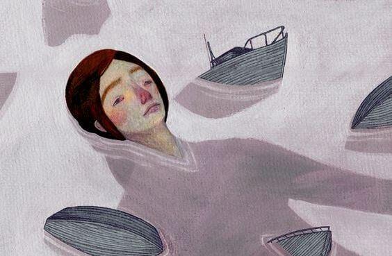 nainen uppoaa