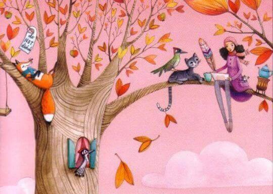 Tyttö ja eläimet puussa