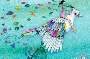 Tyttö ratsastaa linnulla