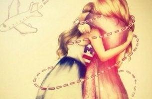 Tosiystävät halaavat