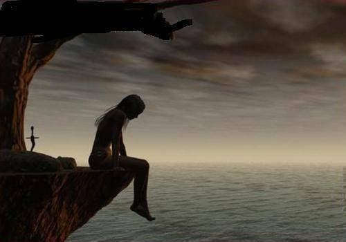 Surullinen tyttö istuu kielekkeellä