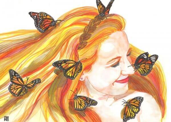 Nainen perhoset nauru