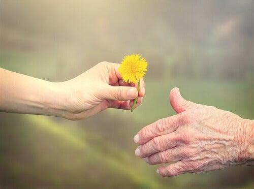 Ystävällisyys kukan ojennus