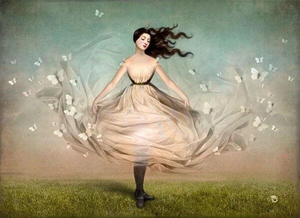 Naisen mekko ja perhoset
