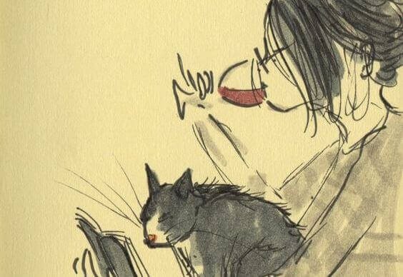 Nainen, kissa ja viini