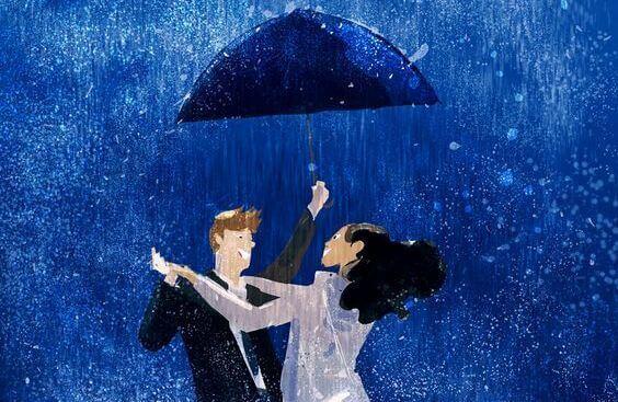 Pari tanssii sateessa