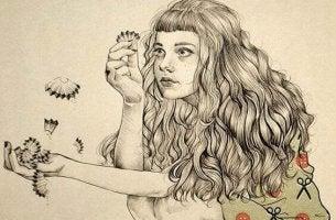 Tyttö pitelee lyijykynän pärtöä