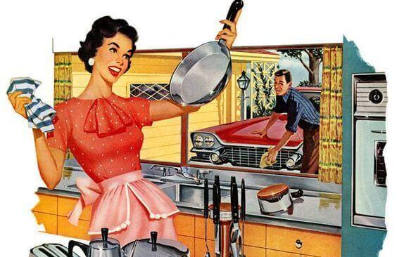 nainen tekee kotityöt