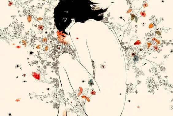 alaston nainen ja kukat