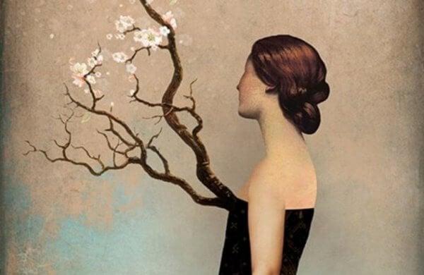 naisen rinnasta kasvaa puu