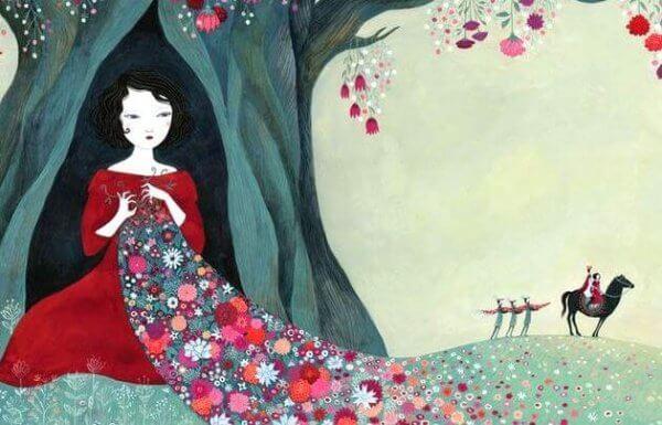 nainen puun sisällä