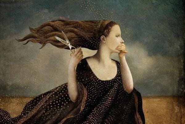 nainen ja sakset