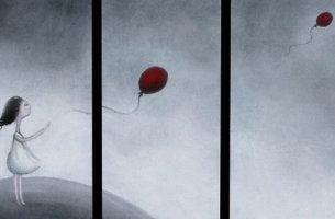 tyttö ja ilmapallot
