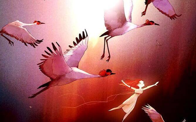 tyttö lentää lintujen kanssa