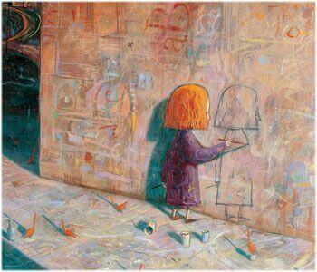tyttö piirtää oman kuvansa