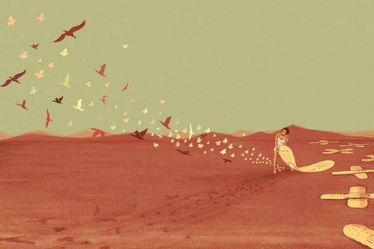 laastarin alta lentää lintuja ja perhosia