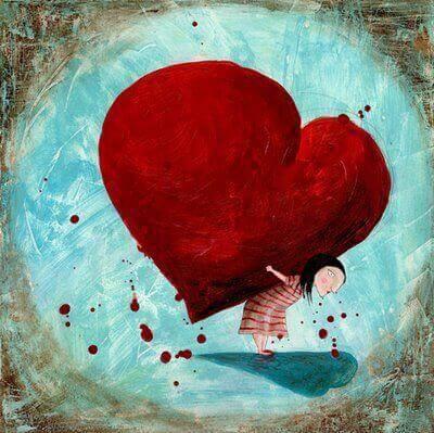 tyttö kantaa sydäntä