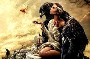 nainen ja kotka