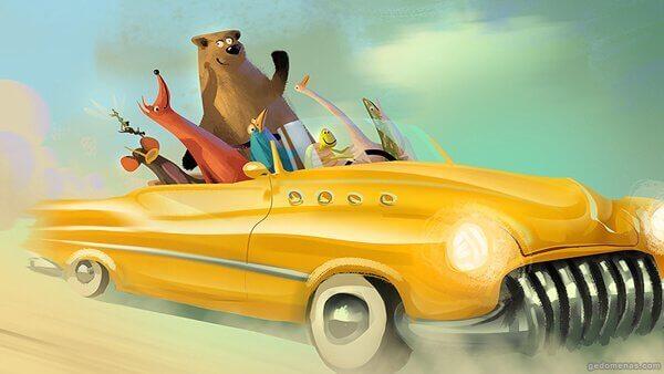 eläimet avoautossa