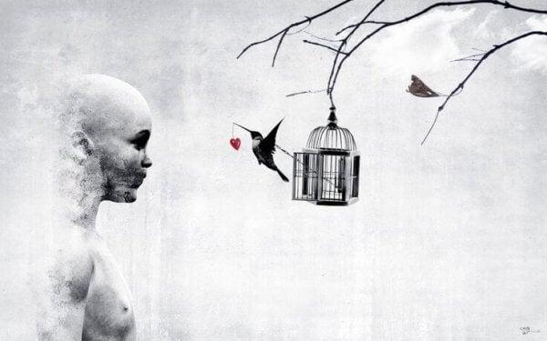 sydän linnun nokassa