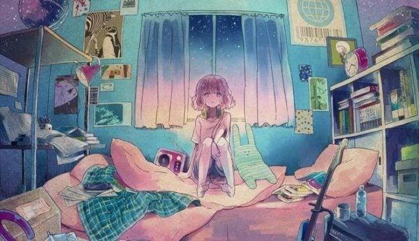 tyttö sängyllä