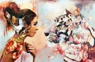 nainen ja tiikeri