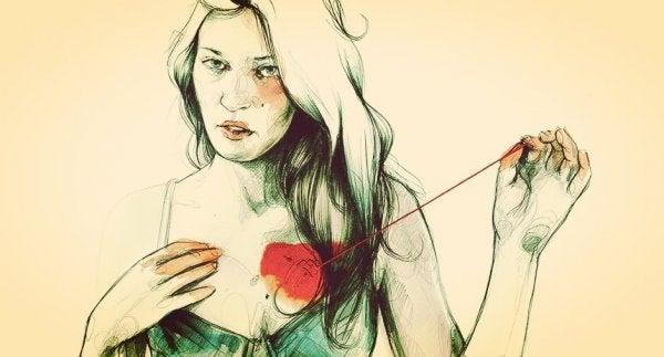 ompelee sydämen kiinni itseensä