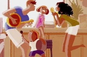 perhe pitää hauskaa yhdessä