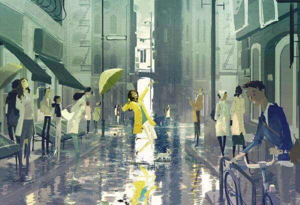tyttö tanssii sateessa